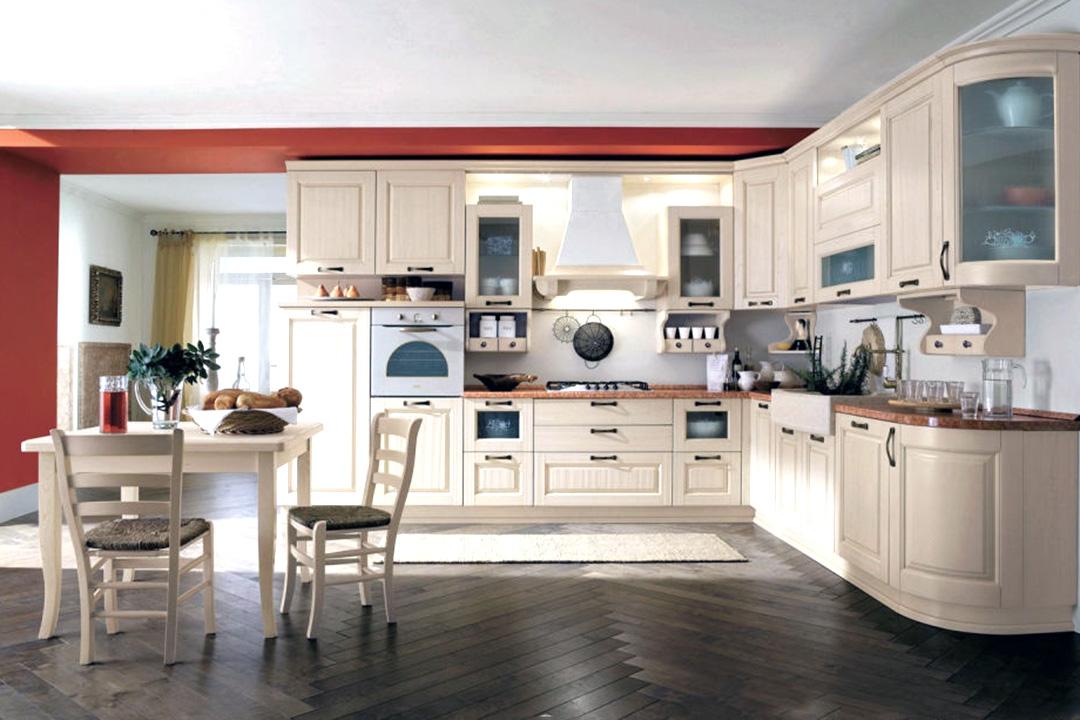 Open Concept L Shape Classic Kitchen Cabinet Design