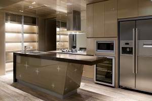 Modern Open Concept Acrylic Island Kitchen