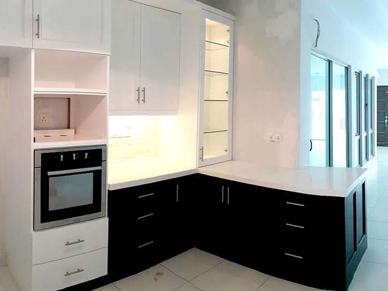 Melamine Black & White Kitchen Cabinet