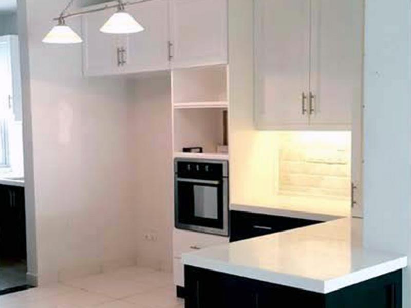 Melamine Black & White Kitchen Cabinet